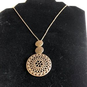 Antique gold extra long triple circle pendant